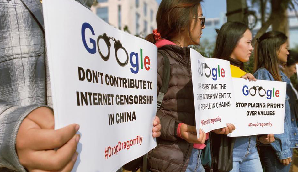 A new wave of protests has hit Google as the latest reports suggest that the company might still be working on the Dragonfly project. (Image: Students for a Free Tibet)