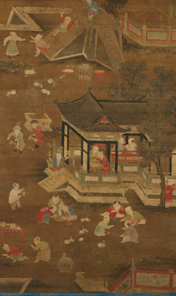 Unidentified artist, Children Playing in the Palace Garden, late Yuan (1271–1368)—early Ming (1368–1644) dynasty, late 13th-15th century, hanging scroll, ink and color on silk. (Image: MOMA)