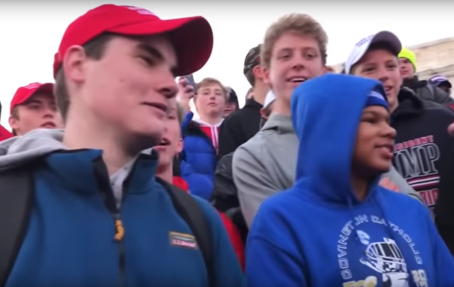 Several members of the radical Black Hebrew Israelites religious group shouted slurs and criticism at the Covington High School students. (Image: YouTube/Screenshot)