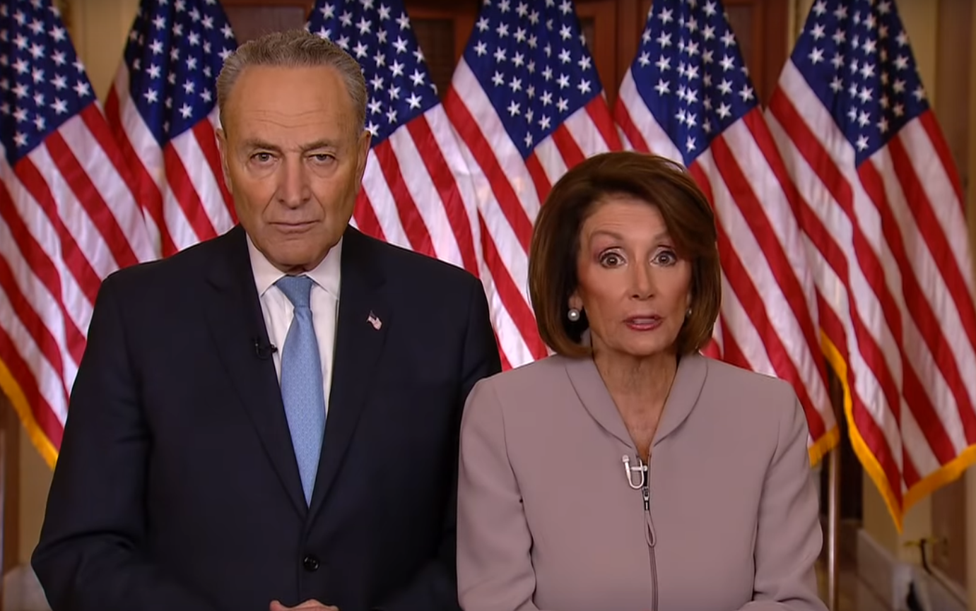 Democrat legislators Nancy Pelosi and Chuck Schumer respond to the president's address. (Image: YouTube/Screenshot)