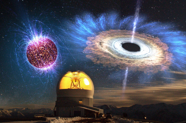 The above image shows a long exposure of the SOAR telescope with overlaid illustrations of a highly magnetized neutron star (top left) and an accreting black hole (top right). (Image credit: D. Maturana & NOAO/AURA/NSF; Overlay (top left): NASA/Penn State University/Casey Reed; (top right): NASA Goddard Space Flight Center)
