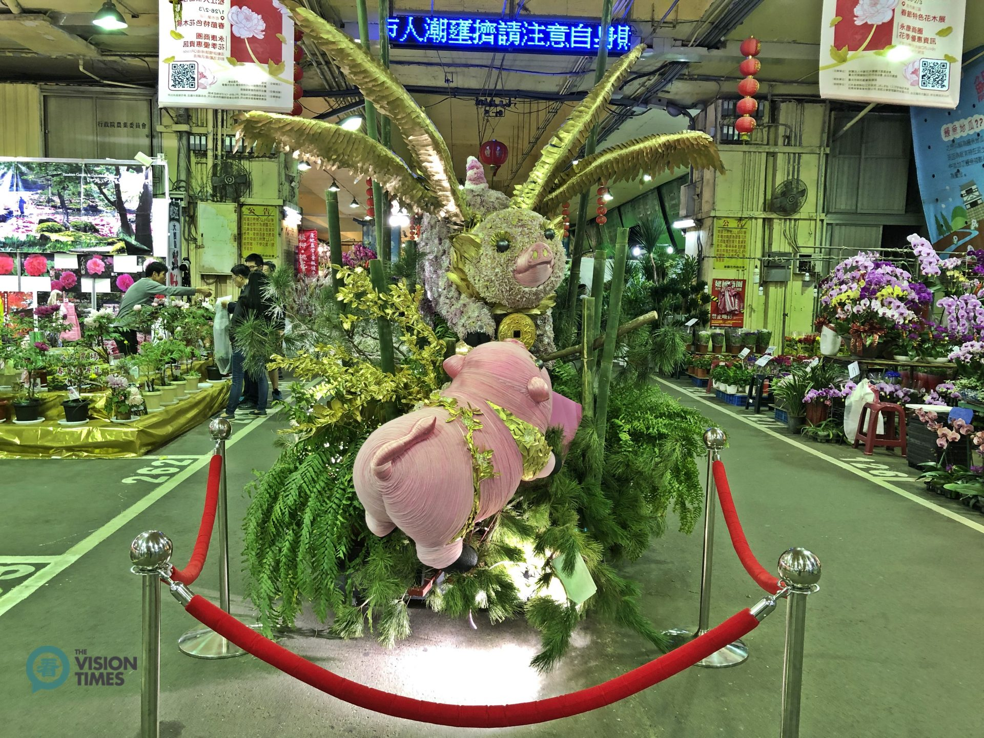 "The main theme of the Flower Fair this year is ""Good Luck in the Year of the Pig"" (喜從豬來). (Image: Billy Shyu / Vision Times)"