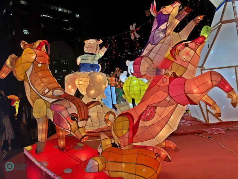 A lantern featuring playful pigs at the 2019 Taipei Lantern Festival. (Image: Billy Shyu / Nspirement)