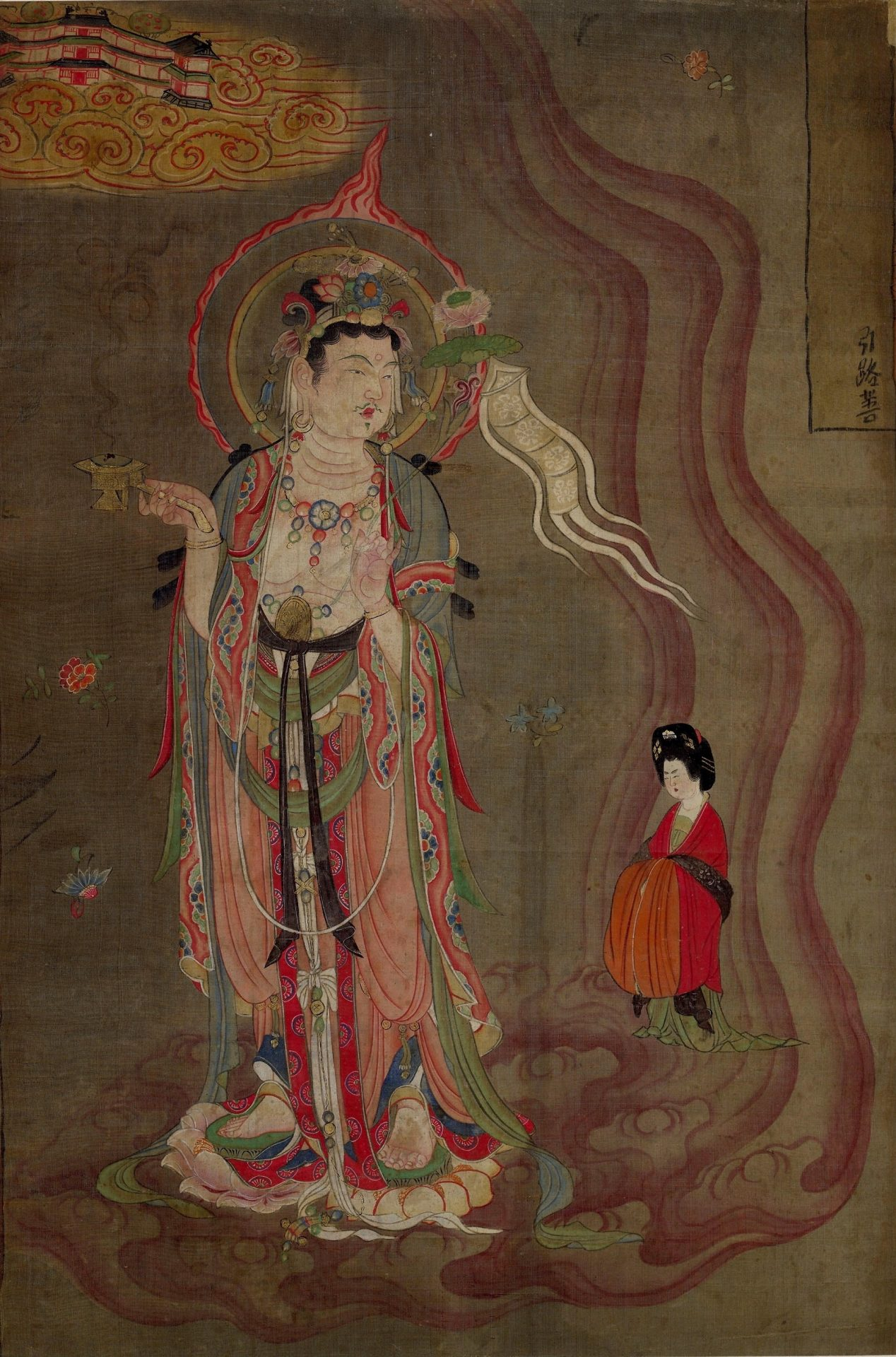 Bodhisattva leading a lady donor towards the Pure Lands. (Image: wikimedia / CC0 1.0)