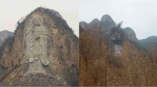 Before and after images of the statue;s destruction taken from the video posted on YouTube by Bitter Winter magazine. (Image: YouTube/Screenshot)