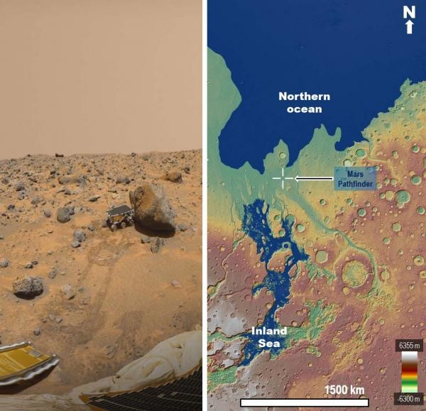"""Left: View of the Sojourner rover from the Pathfinder lander. According to our paper, a large proportion of the rocks could have been eroded from the sea's margin by spillover floods. Credit:NASA Jet Propulsion Laboratory. Right: Approximately 3.4 billion years ago Mars experienced huge catastrophic floods. This panel shows a paleogeographic reconstruction of the circum-Chryse region, which at that time included the flood-produced inland sea and part of the northern plains ocean. The Pathfinder landing site (crosshair symbol) is located on an enormous spillway that connected the inland sea and the northern ocean. The base map is a MOLA digital elevation model (460 m/pixel) centered at 5°31'17""""N, 30°51'24""""W. (Credit: MOLA Science Team, MSS, JPL, NASA)"""