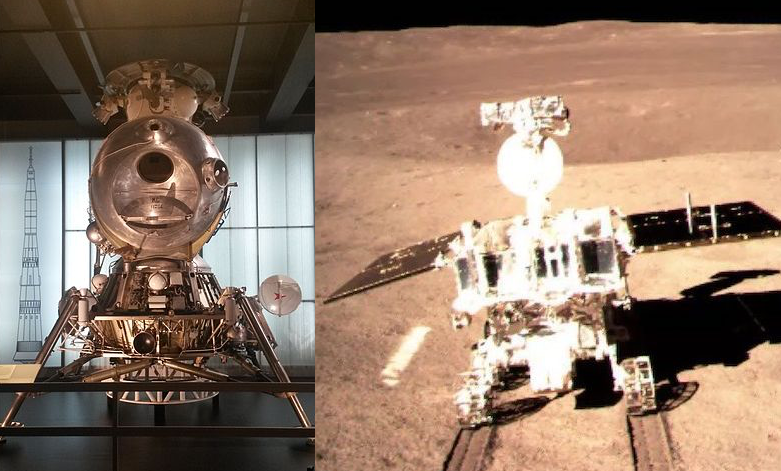 The Soviet LK lunar landing module (left) and China's Yutu-2 lunar rover, seen on the far side of the moon. (Image: CLEP/CNSA/Andrew Grey/CC BY-SA 3.0)