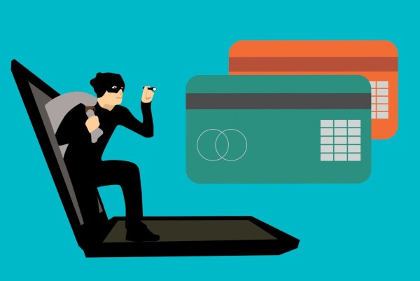 Burgler with bag over shoulder steps out of Laptop screen. 2 credit cards upper right corner one green the other orange