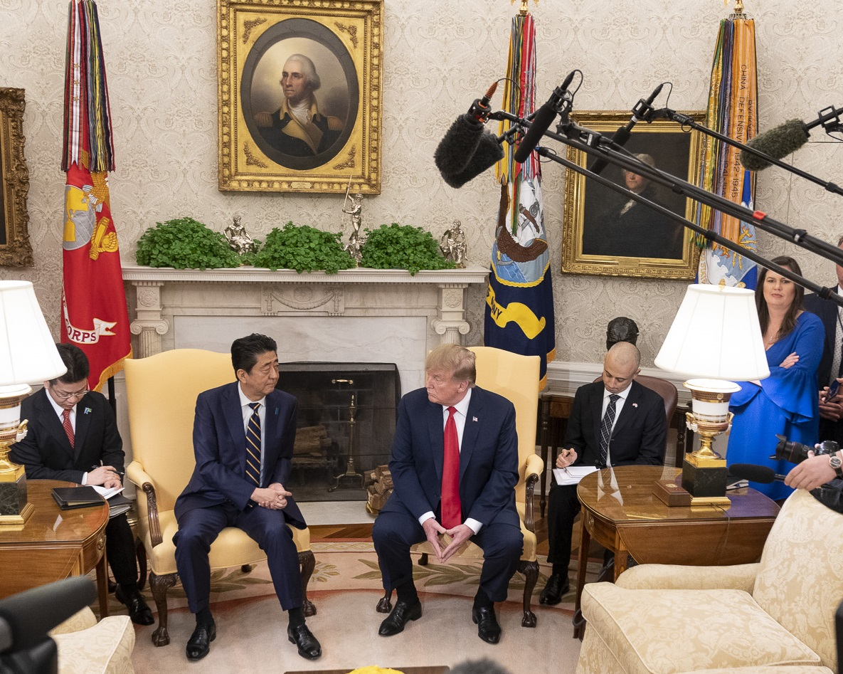 Prime Minister Shinzo Abe of Japan speaks with U.S. President Donald Trump at the White House. (Image: Official White House Photo by Shealah Craighead)