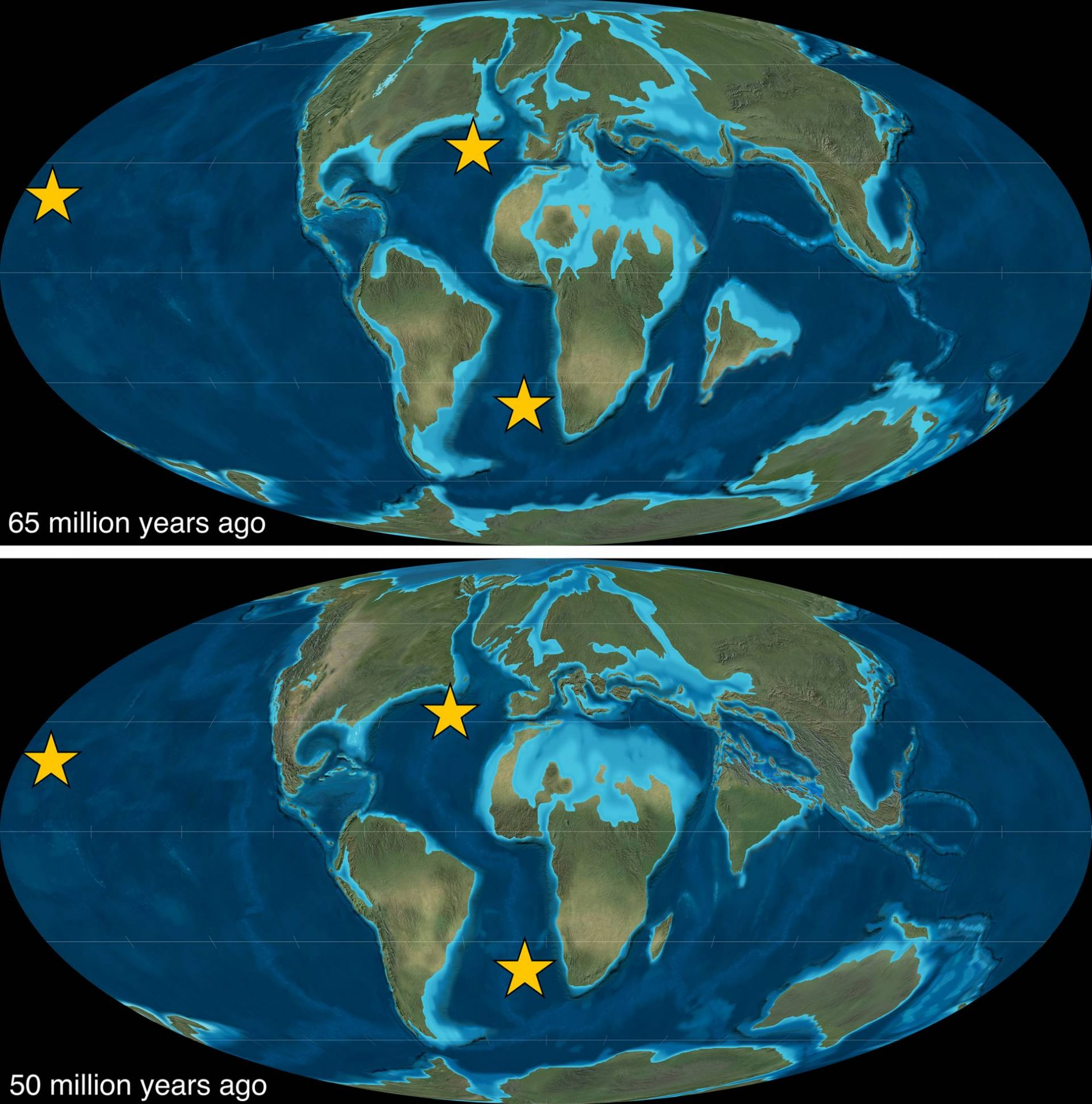 "Neither the continents nor the oceans have always looked the way they do now. These ""paleomaps"" show how the continents and oceans appeared before (top) and during (bottom) ""the collision that changed the world,"" when the landmass that is now the Indian subcontinent rammed northward into Asia, closing the Tethys Sea and building the Himalayas. Global ocean levels were higher then, creating salty shallow seas (pale blue) that covered much of North Africa and parts of each of the continents. A team of Princeton researchers, using samples gathered at the three starred locations, created an unprecedented record of ocean nitrogen and oxygen levels from 70 million years ago through 30 million years ago that shows a major shift in ocean chemistry after the India-Asia collision. Another shift came 35 million years ago, when Antarctica began accumulating ice and global sea levels fell. (Images created by Emma Kast, Princeton University, using paleogeographic reconstructions from Deep Time Maps, with their permission)"