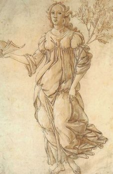 Drawing of Minerva, attributed to Sandro Botticelli's workshop. The drawing emphasizes the flowing feminine lines Botticelli was known for. (Image: Public Domain)