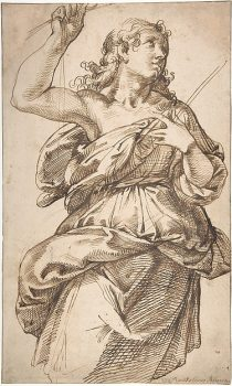 """An Angel"" by Bartolomeo Passarotti (1529–1592). Pen and brown ink, over traces of black chalk, on beige paper. Rogers Fund, 1964. (Image: The Metropolitan Museum of Art)"