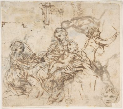 """The Virgin and Child With Saint Martina"" by Pietro da Cortona (1596–1669). Pen and brown ink, over black chalk. Gift of Cornelius Vanderbilt, 1880. (The Metropolitan Museum of Art)"
