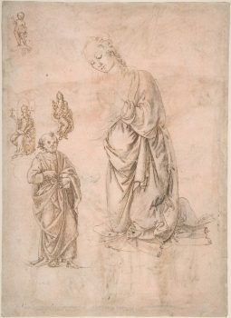 """Sketches of Figures of the Virgin Kneeling,"" attributed to Francesco di Simone Ferrucci (1437–1493). Pen and brown ink, over leadpoint or black chalk, on rose-washed paper. Bequest of Walter C. Baker, 1971. (Image: The Metropolitan Museum of Art)"