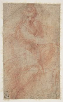 """Seated Goddess Diana"" by Girolamo Francesco Maria Mazzola (Parmigianino). Red chalk. Rogers Fund, 1910. (The Metropolitan Museum of Art)"