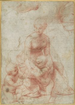 """Madonna and Child With the Infant Saint John the Baptist"" by Raffaello Sanzio da Urbino (1483–1520). Red chalk (recto); pen and brown ink. Rogers Fund, 1964. (Image: The Metropolitan Museum of Art)"