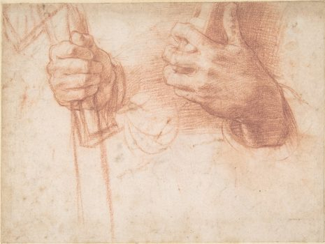 """Studies of Hands"" by Andrea del Sarto (1486–1530). Red chalk, lined. Bequest of Walter C. Baker, 1971. (The Metropolitan Museum of Art)"