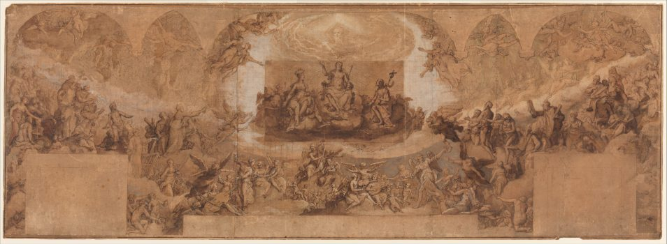 """Paradise"" by Federico Zuccaro (1540/42–1609). Pen and brown ink, brush and brown wash, watercolor, gouache, highlighted with white gouache, left and central sections squared in red chalk, on three sheets of brown paper, joined vertically. A piece of brown paper with figures of Christ, the Virgin, and St. John the Baptist has been affixed at the center of the drawing. Rogers Fund, 1961. (Image: The Metropolitan Museum of Art)"