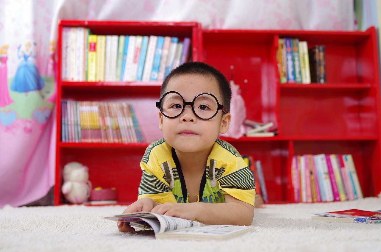 Little Reading Kids Books Book Boy Glasses Baby
