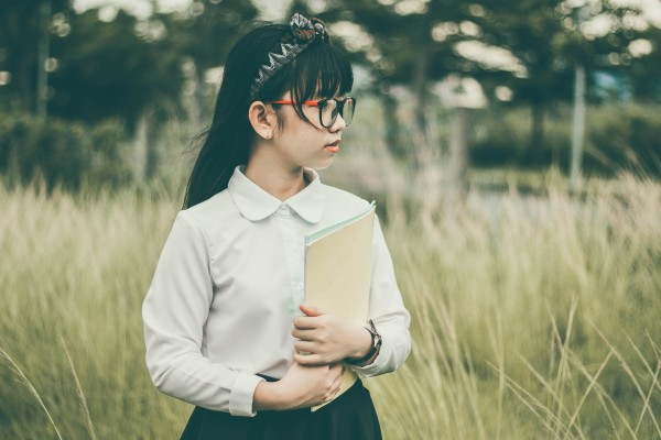 asian girl, school outfit, white shirt, black dress, glasses and hair held back