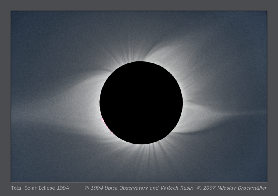 Mason searched for coronal rain in helmet streamers like the one that appears on the left side of this image, taken during the 1994 eclipse as viewed from South America. A smaller pseudostreamer appears on the western limb (right side of image). Named for their resemblance to a knight's pointy helmet, helmet streamers extend far into the Sun's faint corona and are most readily seen when the light from the Sun's bright surface is occluded. (Image: © 1994 Úpice observatory and Vojtech Rušin, © 2007 Miloslav Druckmüller)