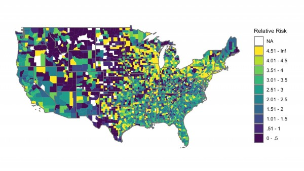 """This map represents the """"relative risk ratio"""" or percentage of black students who received out-of-school suspensions compared to white students. (Photo courtesy of Travis Riddle, Princeton University)"""