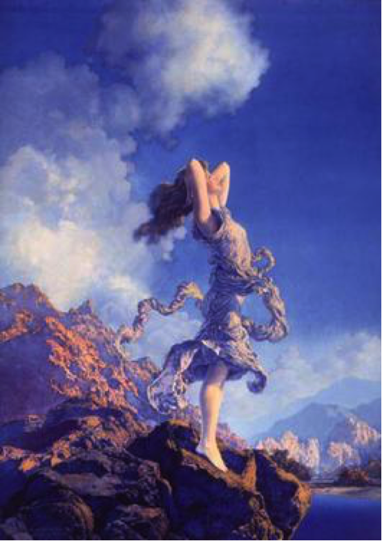"""Ecstasy,"" Maxfield Parrish, 1930, Oil on Panel. Edison Mazda Lamp calendar illustration. (Image: Public Domain)"