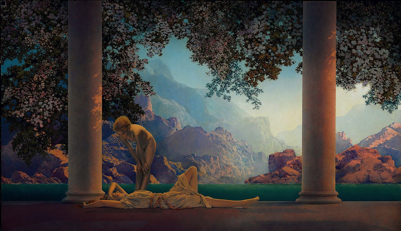 """Daybreak,"" 1922, Maxfield Parrish. Oil on Panel. (Image: Public Domain)"