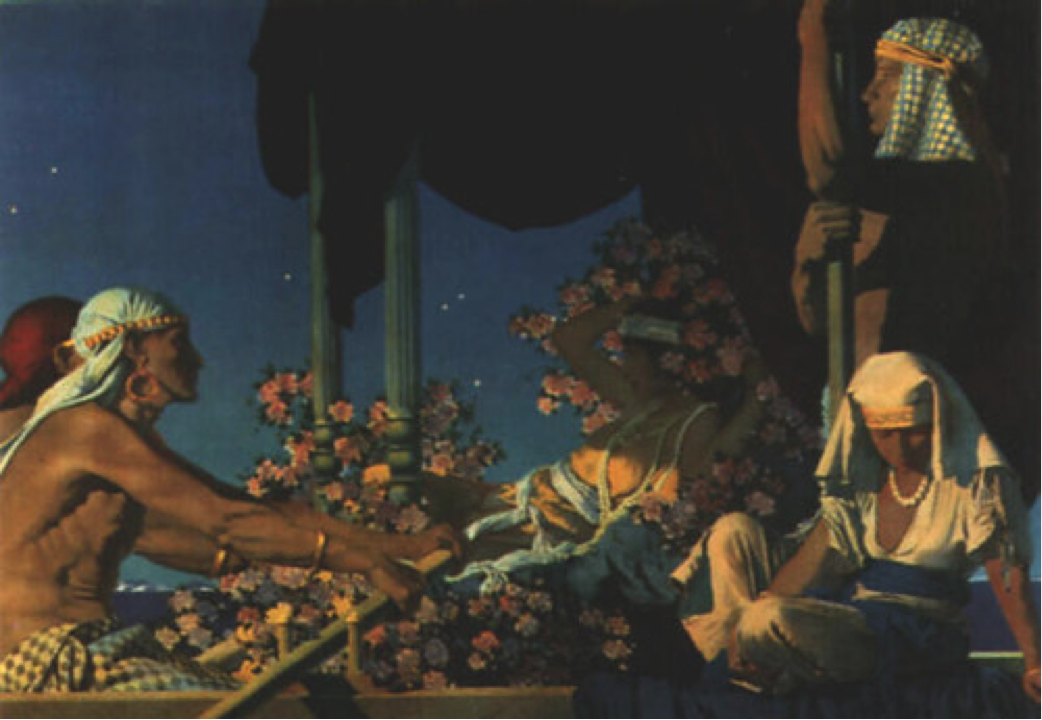 """Cleopatra,"" Maxfield Parrish. His series of images for Crane's Chocolates which decorated their packaging and boxes with oriental themes. Many people collected them for the artwork. (Image: Public Domain)"