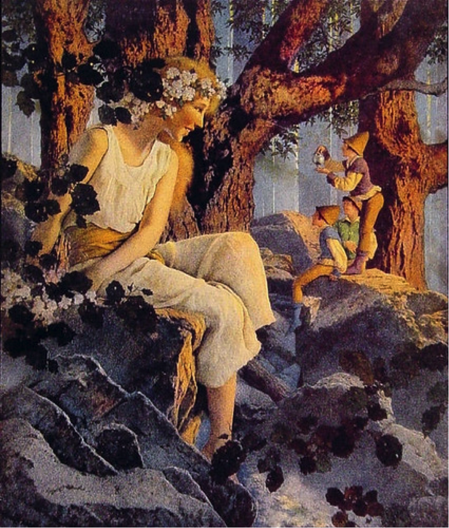 """A Girl with Elves,"" Maxfield Parrish, Lithograph. Djer-Kiss beauty products ad in the Ladies' Home Journal in 1918. (Image: Public Domain)"