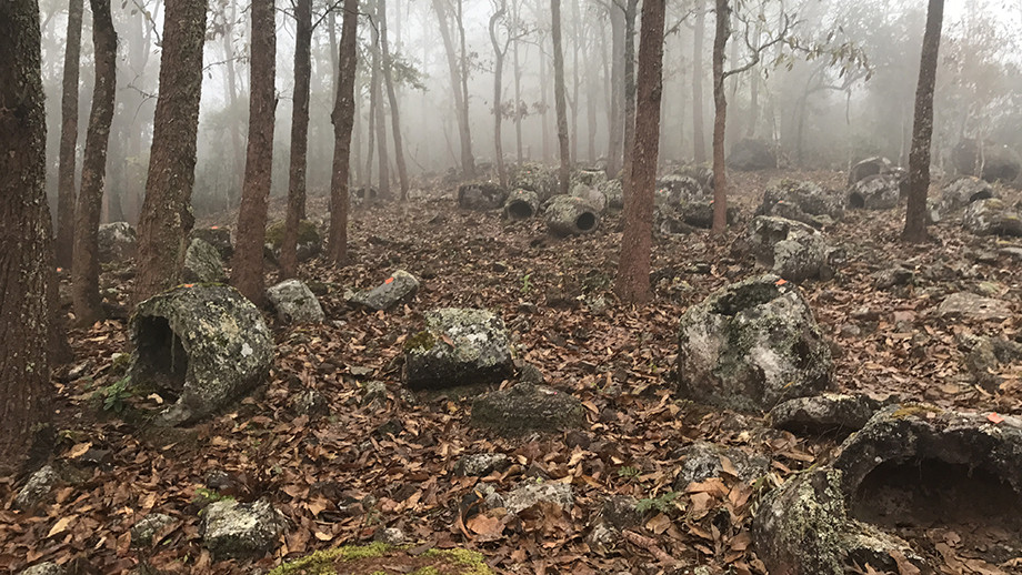 Megalithic jars in forest. (Image: ANU)