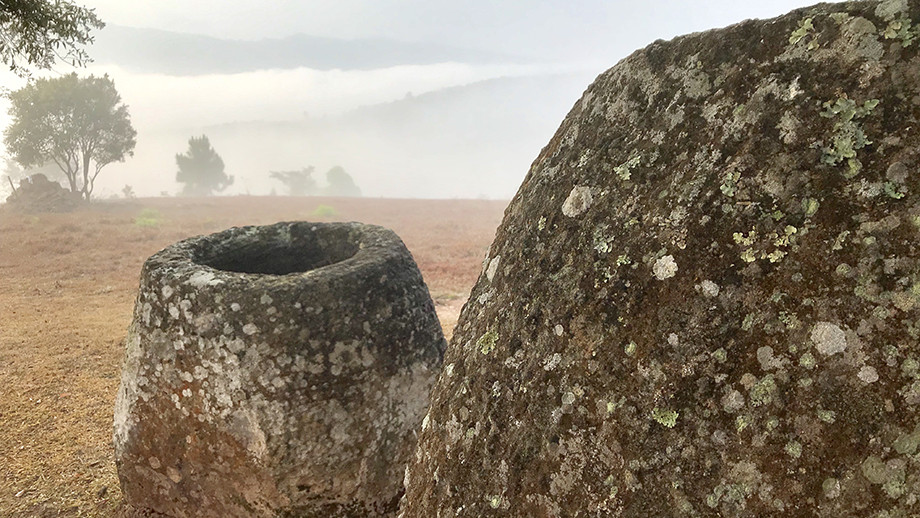 Sandstone megalithic jars in Xiengkhouang Province, Laos. (Image: ANU)