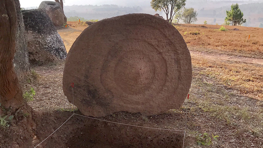 Disc decorated with concentric rings at Site 2- decoration was facing downward. (Image: ANU)