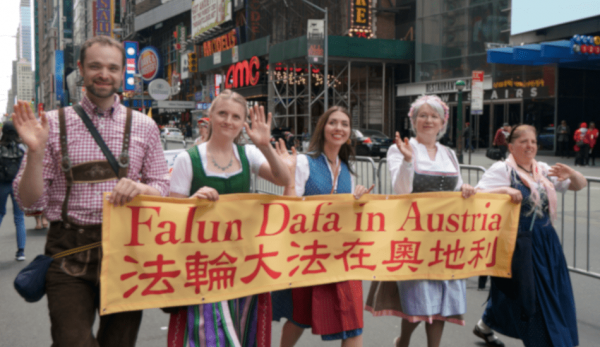 Austrians don their traditional clothing for the parade. (Image: David Yang)