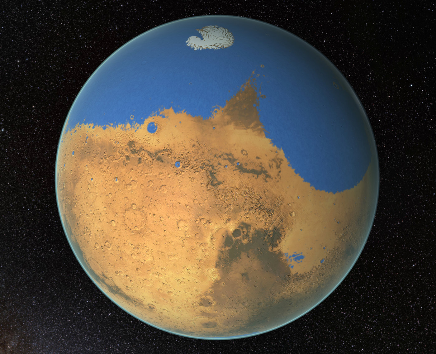Billions of years ago, Mars could have looked like this with an ocean covering part of its surface. Image: NASA/GSFC)