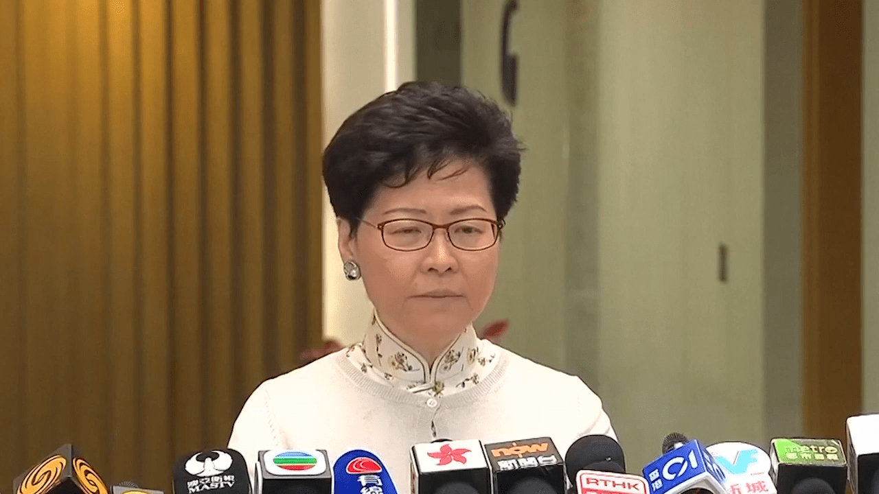Chief Executive Carrie Lam was forced to acknowledge the public's 'unhappiness' after last year's election defeat. (Image: Screenshot / YouTube)