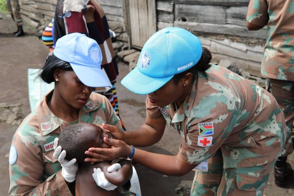 A team of MONUSCO female peacekeepers partners with a local women organization