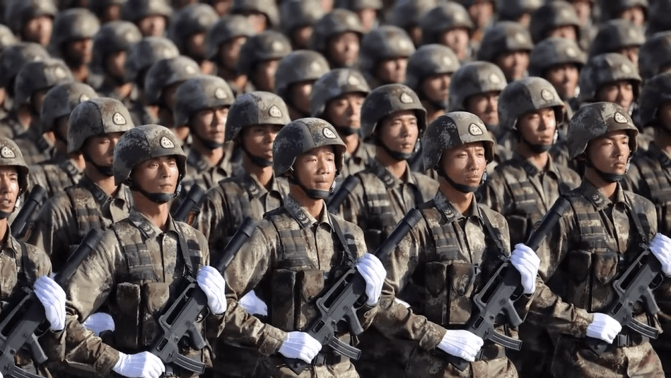 chinese military people's liberation army soldiers march in even rows holding qbz-95 assault rifles and white gloves on parade in Beijing