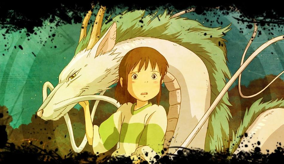 Spirited Away movie, a scene with girl and white dragon