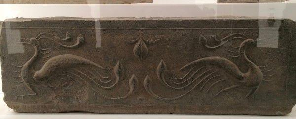 Made from western Han dynasty hollow brick with two vermillion birds, on display at NGV. (Image: Trisha Haddock)