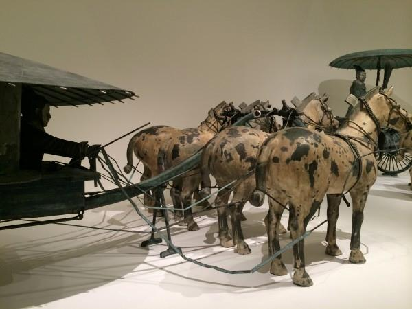 Qin Dynasty Chariot on display at NGV. The carriage was made out of wood and when found, they were crushed. Replicas were made and the original ones remain in China. (Image: Trisha Haddock)