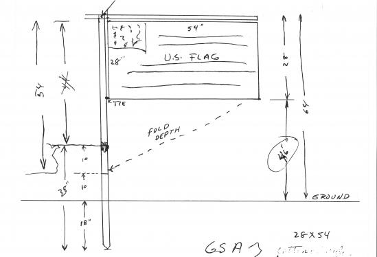 NASA engineer Jack Kinzler's original sketch of the Lunar Flag Assembly. (Image: JACK KINZLER)