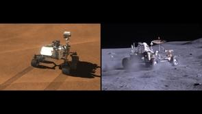 """Left: Fifth years of extraterrestrial off-roading: """"Curiosity"""" leaves tracks on Mars. Right: An Apollo rover kicks up dust. (Image: NASA)"""