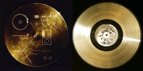 """Each Voyager probe carries a copy of the """"Golden Record."""" Compiled by a team led by Carl Sagan in just six weeks, each record contains various sounds of Earth, including music and encoded images. The discs, complete with a stylus for playback, are protected inside a case (left) engraved with instructions on how to play them. (Photo: NASA)"""