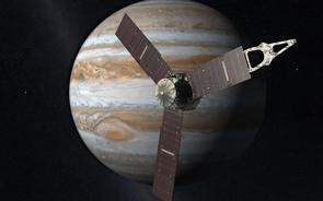 An artist's rendering of the Juno probe as it approaches Jupiter. (Image: JPL-Caltech/NASA)