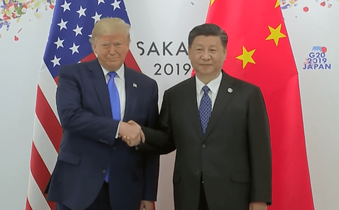 U.S. President Donald Trump and Chinese President Xi Jinping meet on the sidelines of the G-20 Summit in Osaka, Japan, on June 29. (Image: YouTube/Screenshot)