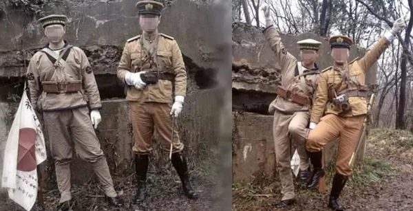 A number of Chinese have been arrested for posing with World War II Japanese uniforms. (Image: Weibo)