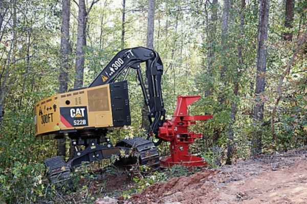 A logger with a chainsaw or a feller/buncher machine will move from the bottom of the tree to the top, cutting it into specific length sawlogs and removing all the branches. (Image: cat.com)
