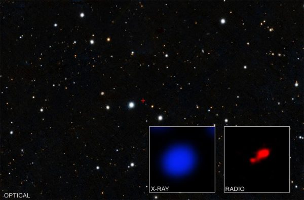 Data from NASA's Chandra X-ray Observatory have revealed what may be the most distant shrouded black hole, which may have existed only 850 million years after the Big Bang, or approximately half a billion years earlier than the previous record-holder. The small, central region marked with a red cross in the main image — from the optical PanSTARRS survey — contains the quasar PSO167-13, which was first discovered with PanSTARRS. The left inset contains X-rays detected with Chandra from this region, with PSO167-13 in the middle. The right inset shows the same field of view as seen by the Atacama Large Millimeter Array (ALMA) of radio dishes in Chile. The bright source is the quasar, and a faint, nearby companion galaxy appears in the lower left. (Image: X-RAY: NASA/CXO/PONTIFICIA UNIVERSIDAD CATOLICA DE CHILE/F. VITO; RADIO: ALMA (ESO/NAOJ/NRAO); OPTICAL: PAN-STARRS)