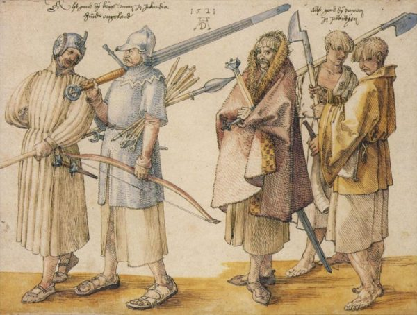 Albrecht Dürer's depiction of 'Irish soldiers and peasants' (1521). Kuperferstichkabinett Staatliche Museen, zu Berlin. (Image: University of Cambridge)
